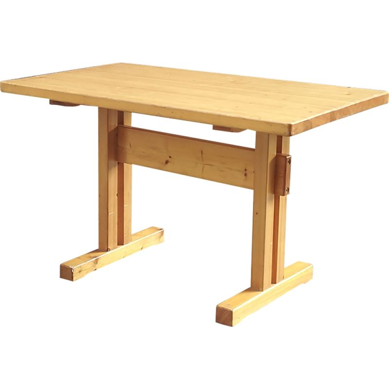 Vintage french Les Arcs table in pine by Charlotte Perriand 1960