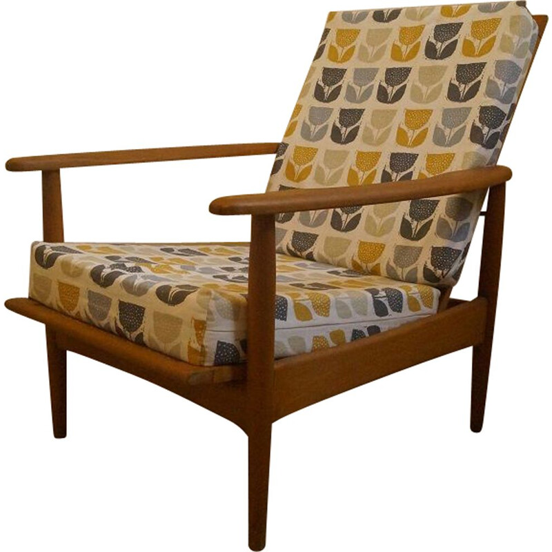 Scandinavian wooden and fabric amrchair