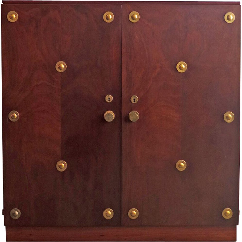 Large vintage chest of drawers in brass and walnut 1930