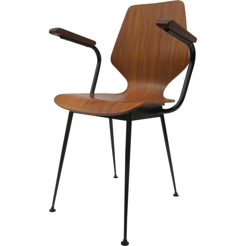 Vintage industrial plywood and steel chair for Industrial Legni Curvati 1950