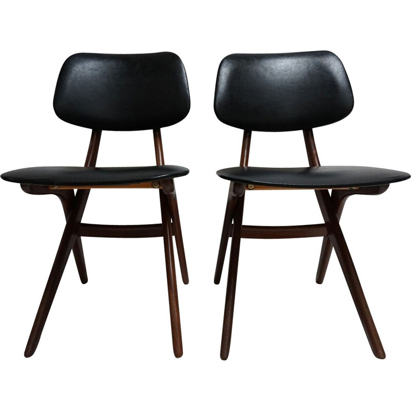 Set of 2 vintage chairs for Webé in teak and black leatherette 1950
