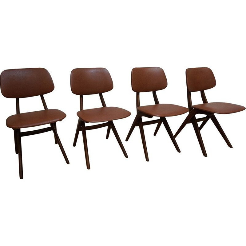 Set of 4 vintage dutch chairs for Wébé in teak and brown leatherette 1950