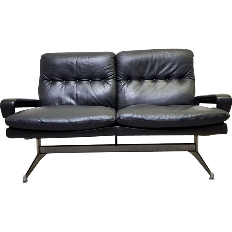 Vintage King sofa for Strässle International in black leather and aluminium