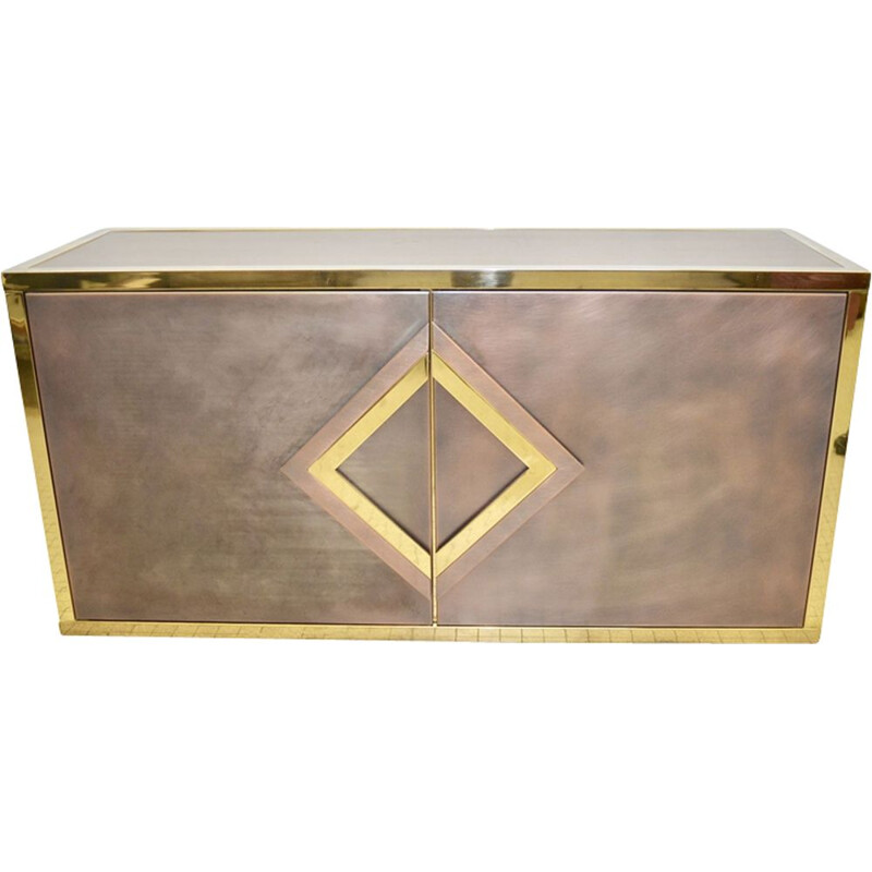 Vintage belgian brass and steel sideboard 1980