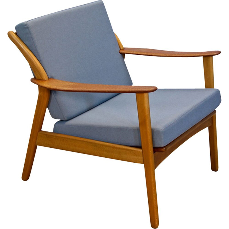 Vintage danish lounge chair in beech and teak 1960