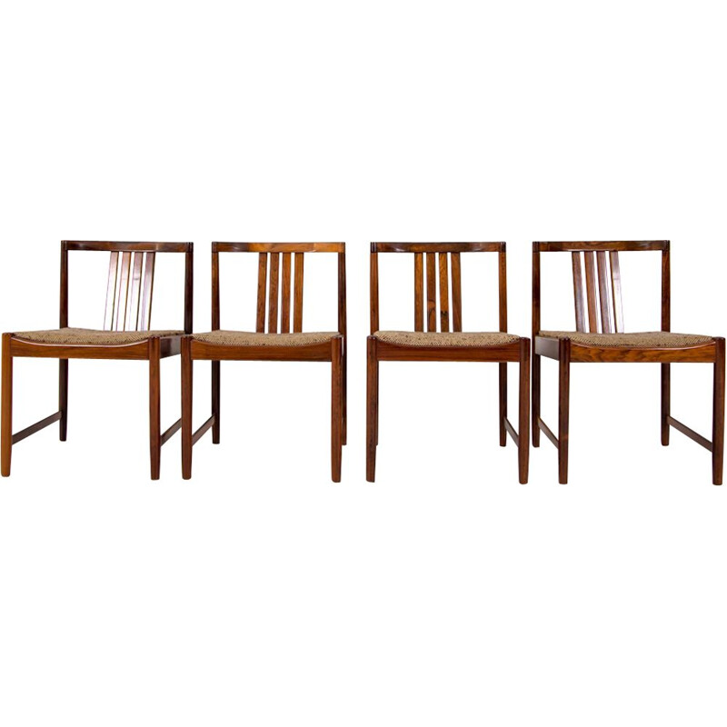 Set of 4 vintage belgian chairs in rosewood and brown wool 1960