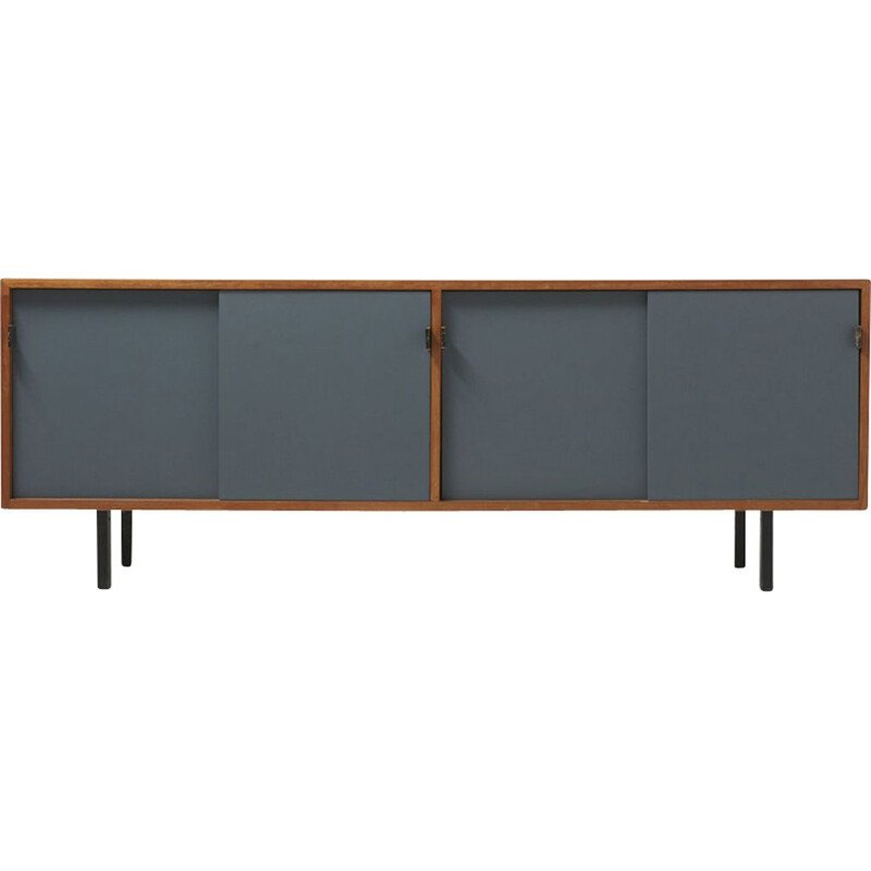 Vintage sideboard for Knoll International in wood and gray metal
