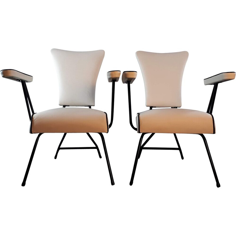Pair of vintage french chairs in white leather and metal 1950
