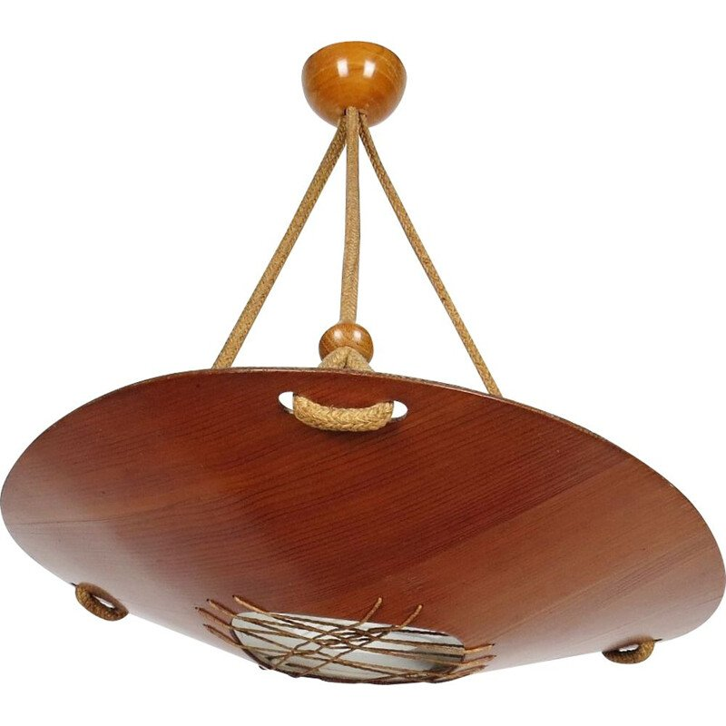 Vintage pendant lamp for ÚLUV Praha in wood and glass 1960