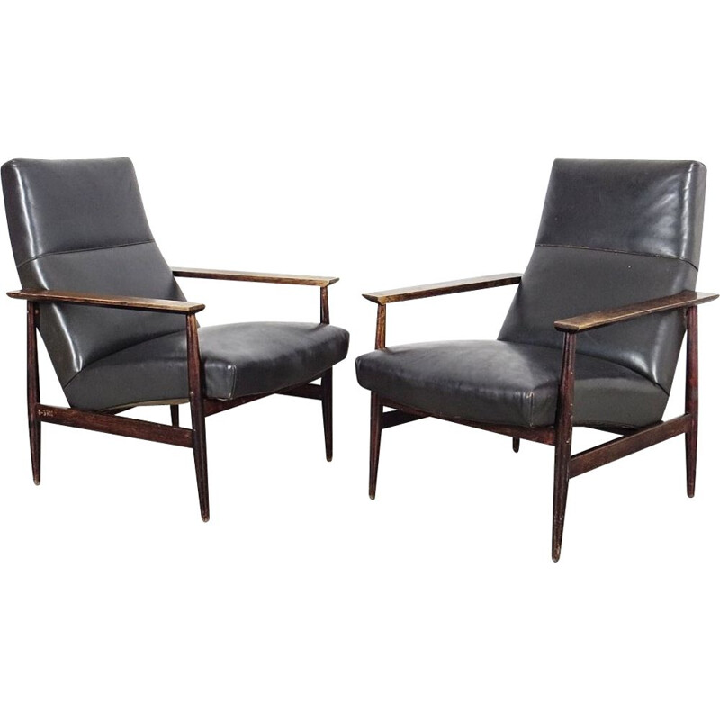 Set of 2 vintage leather armchairs in black leather and wood 1970