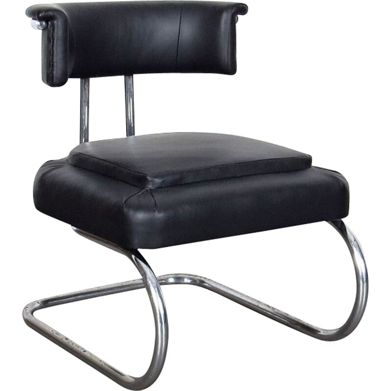 Vintage small tubular armchair in black leather and metal 1930