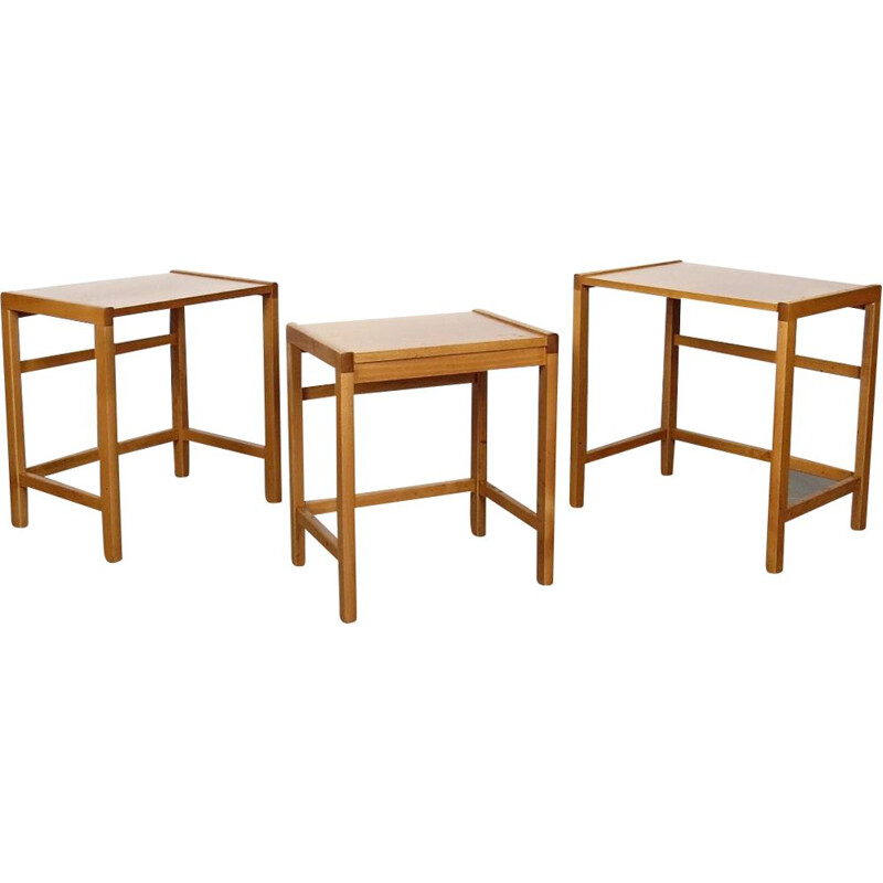 Vintage nesting tables in wood 1970