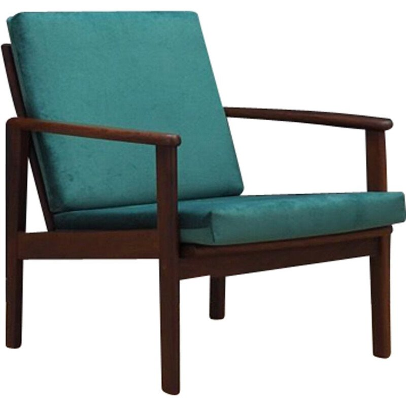 Danish armchair in teak and green velvet