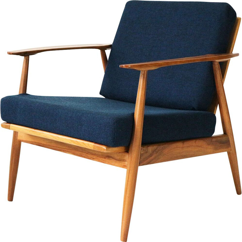 Vintage armchair in walnut and blue fabric