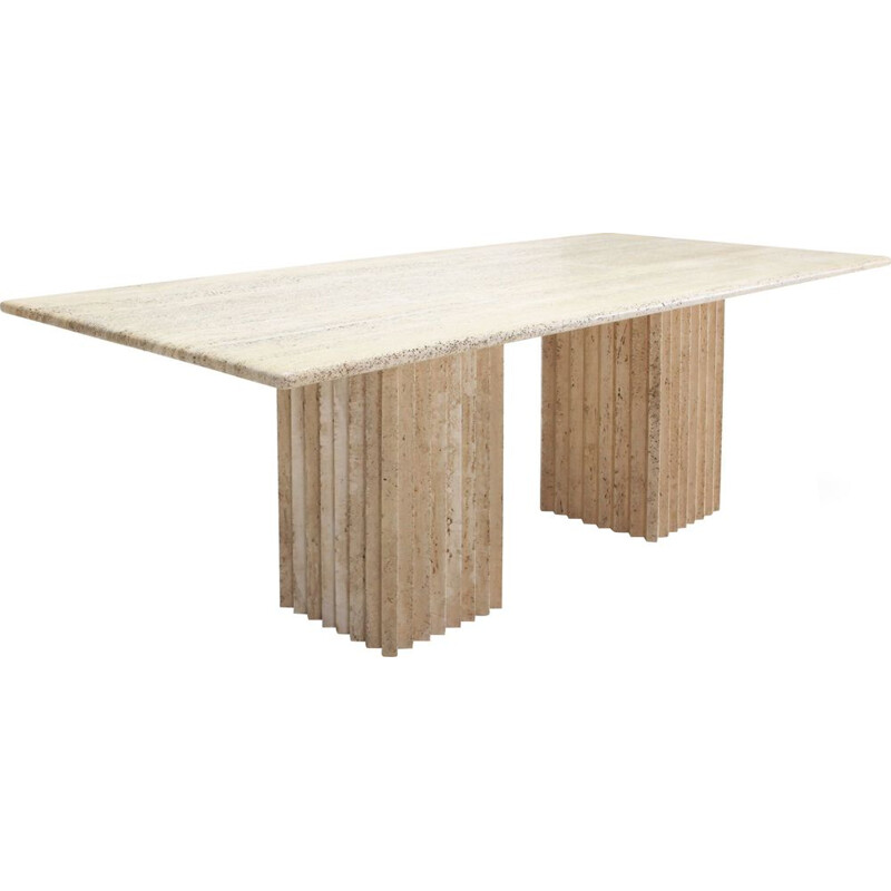 Beige dining table in travertine