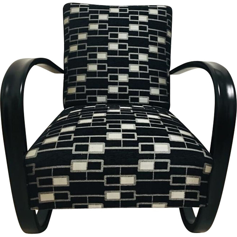 Vintage H269 armchair for UP Zavody in wood and black fabric 1930