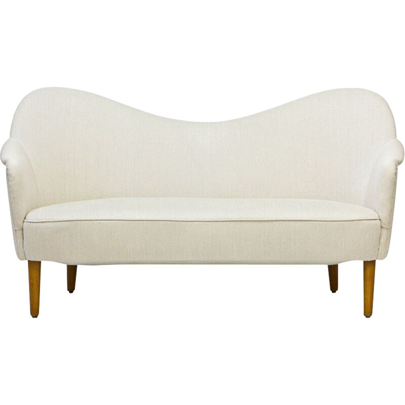 Samspel sofa in beige wool by Carl Malmsten