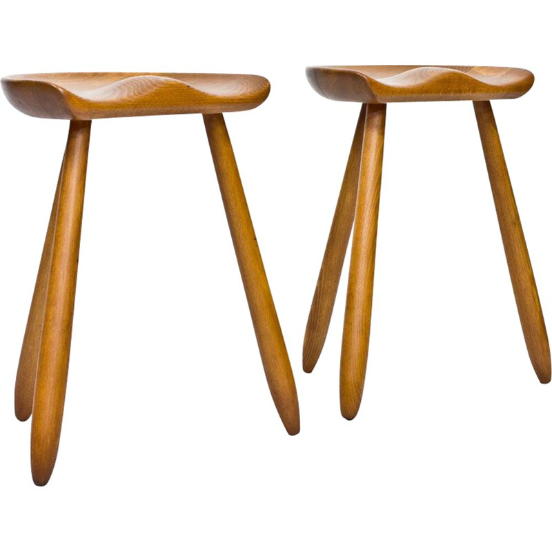 Pair of Danish stools in beechwood