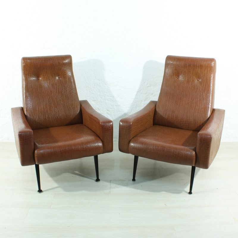 2 Vintage Fauteuils.Set Of 2 Vintage German Armchairs In Brown Leatherette And Wood