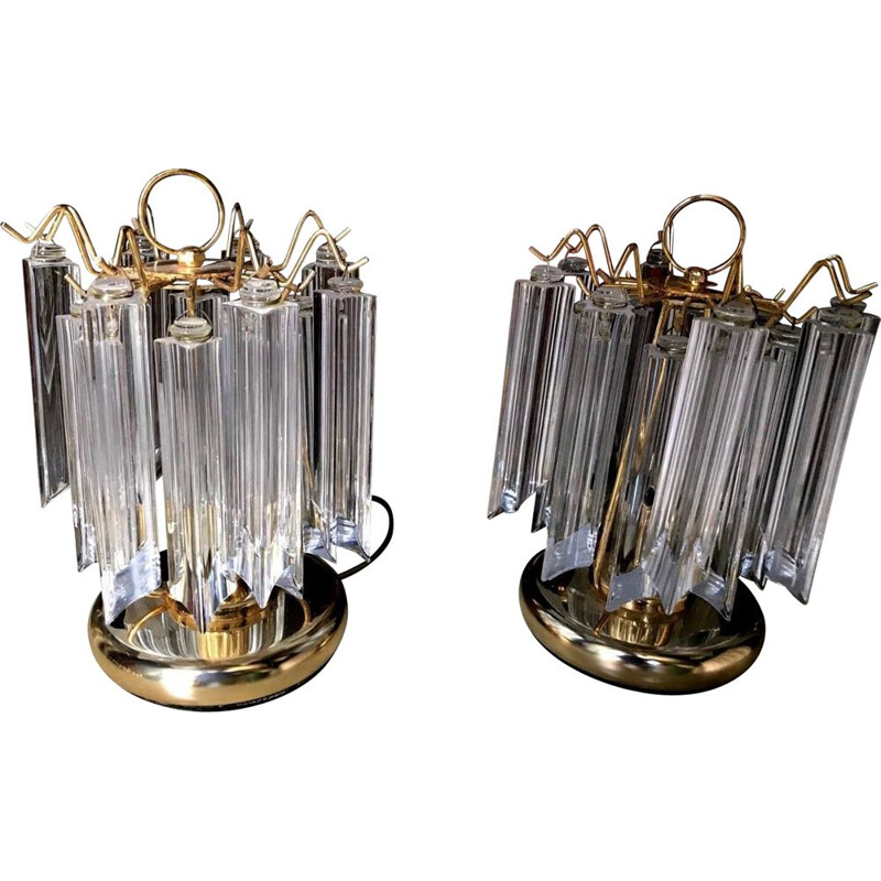 Pair of Barovier lamps in Murano glass