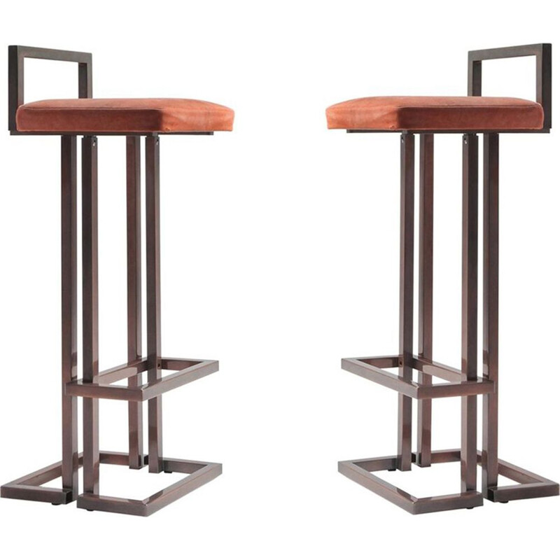 Set of 2 vintage Maison Jansen rose metal stools
