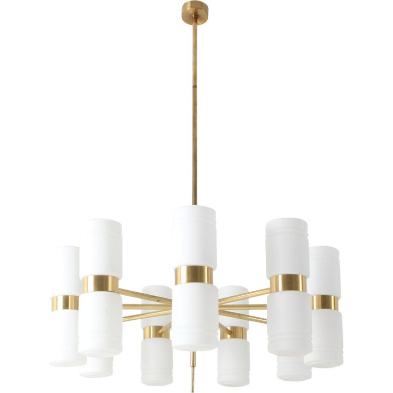 Vintage Hans-Agne Jakobsson brass and milky opaline glass chandelier