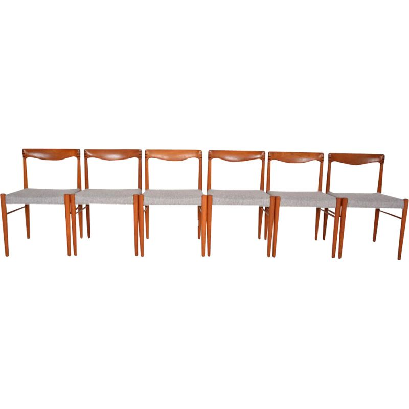 Set of 6 grey chairs in teak by Bramin
