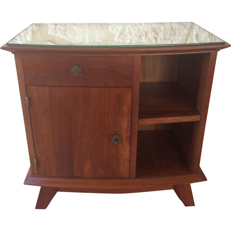 Vintage walnut nightstand with mirrored top