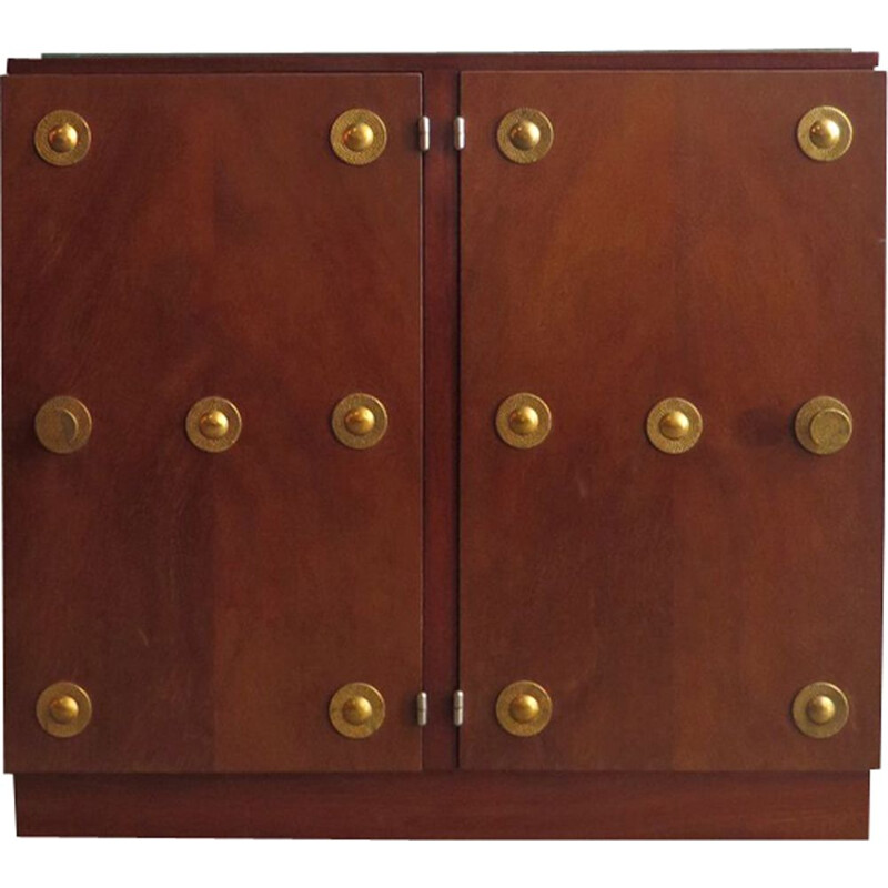 Vintage double door bedside table with brass elements
