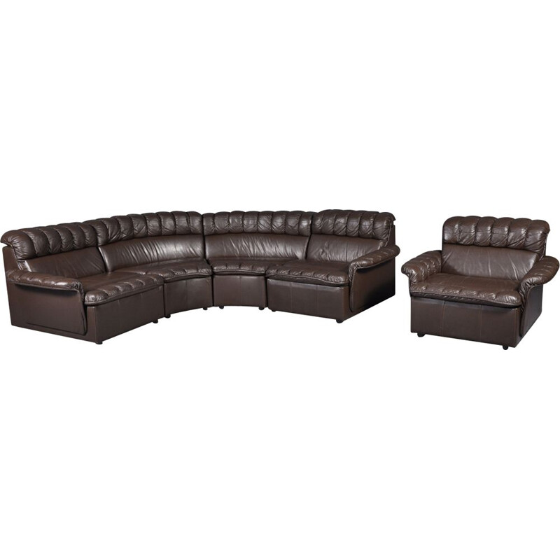 Vintage modular brown leather sofa