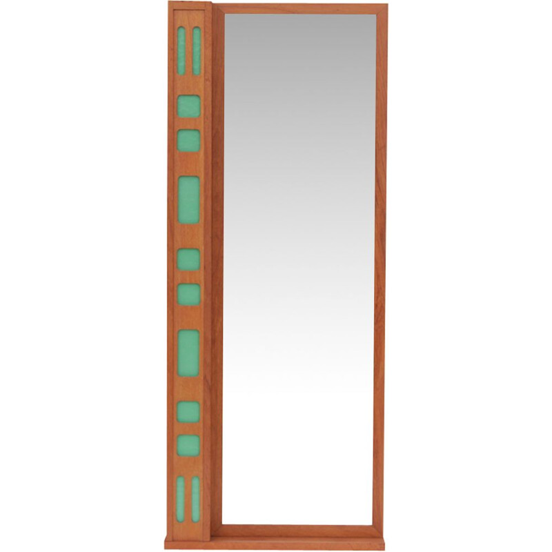Scandinavian teak mirror with tablet