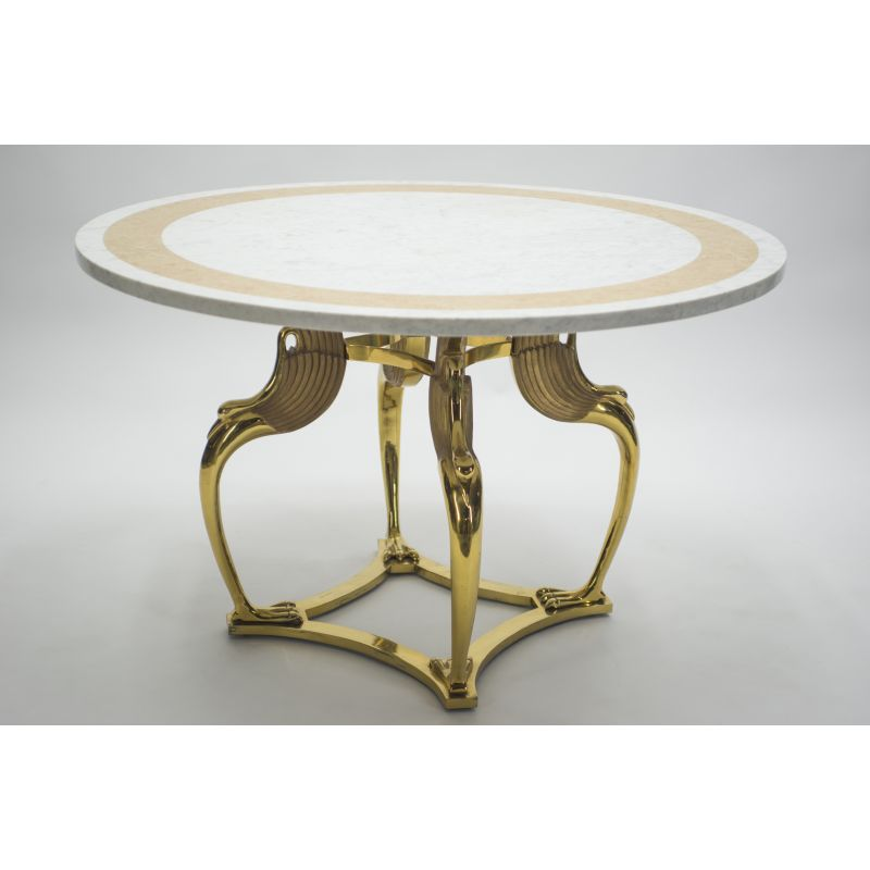 French Vintage Table In White Marble And Brass 1970 Design Market