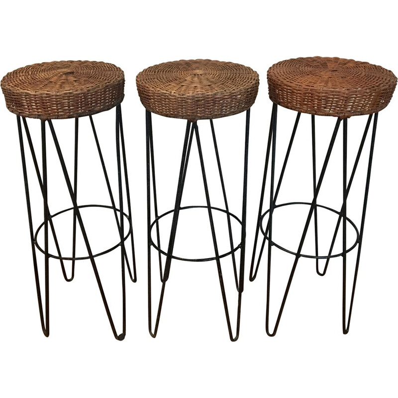 Set of 3 vintage braided wicker stools