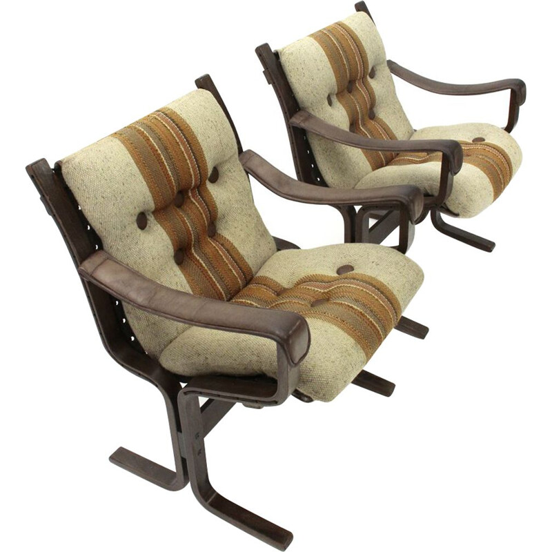 Set of 2 vintage plywood armchair by Ingmar Relling for Westnofa