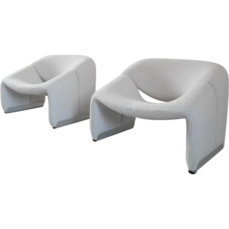 Pair of vintage Groovy armchairs for Artifort in ivory wool 1973