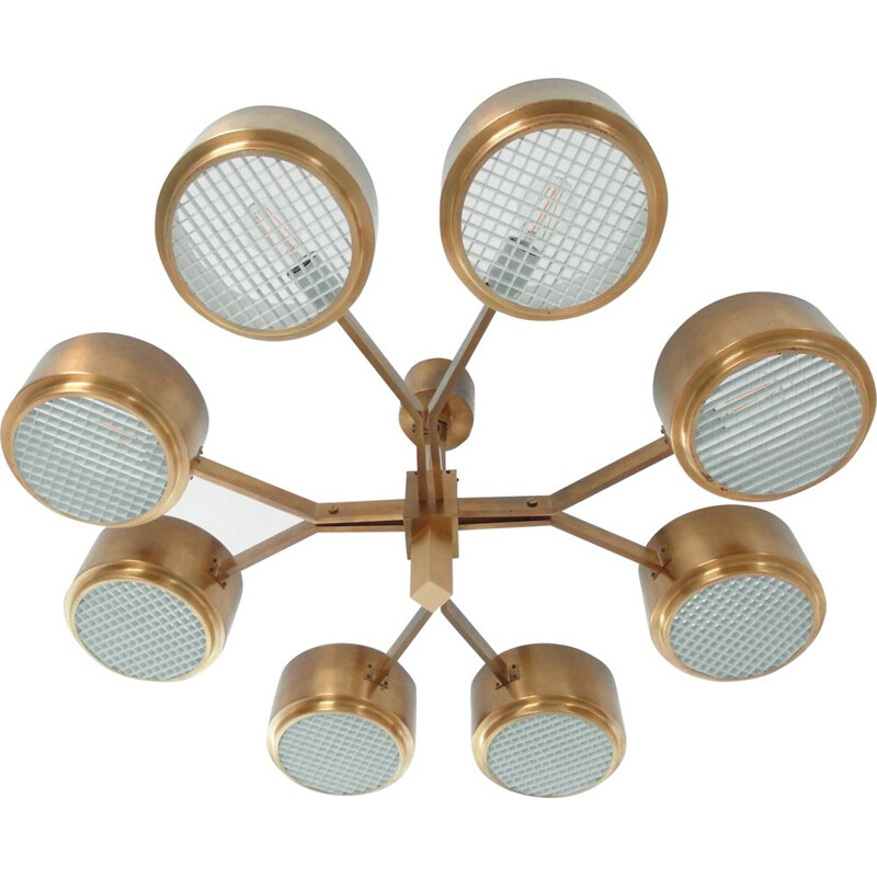 Vintage scandinavian Model 4938 chandelier in brass and plastic