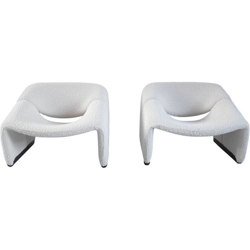 Pair of Groovy Chairs in Ivory Wool by Pierre Paulin for Artifort, 1973