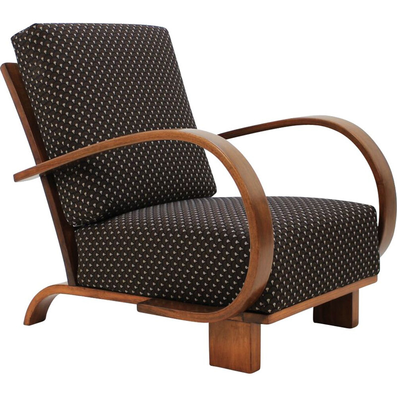 Vintage armchair by Halabala in walnut and black fabric