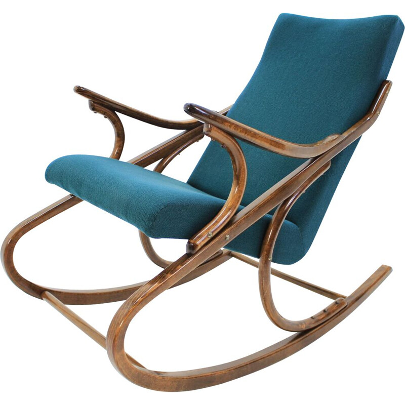 Vintage blue rocking chair for TON in wood 1958