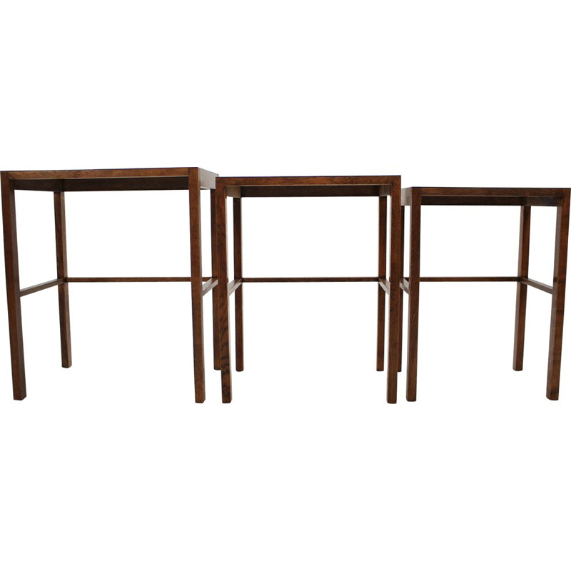 Set of vintage H-50 nesting tables for UP Závody in wood and formica 1930