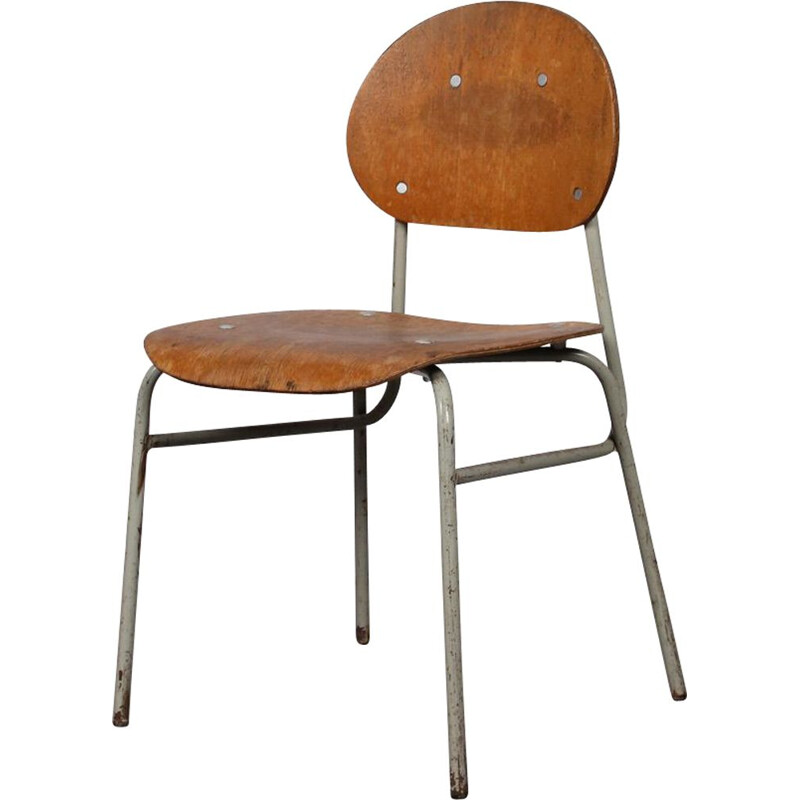 Vintage chair in plywood and metal 1960