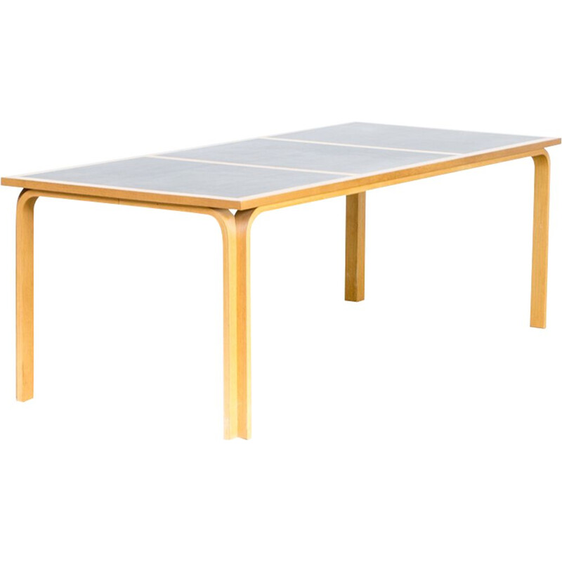 Vintage table for Magnus Olesen in birchwood and vinyl 1960