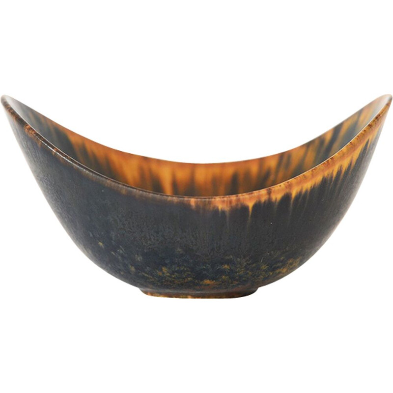Vintage scandinavian bowl for Rörstrand in brown ceramic 1960