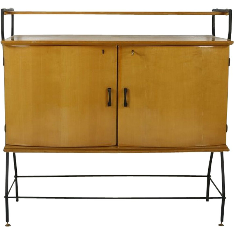 Vintage italian lacquered cabinet in wood and metal 1950