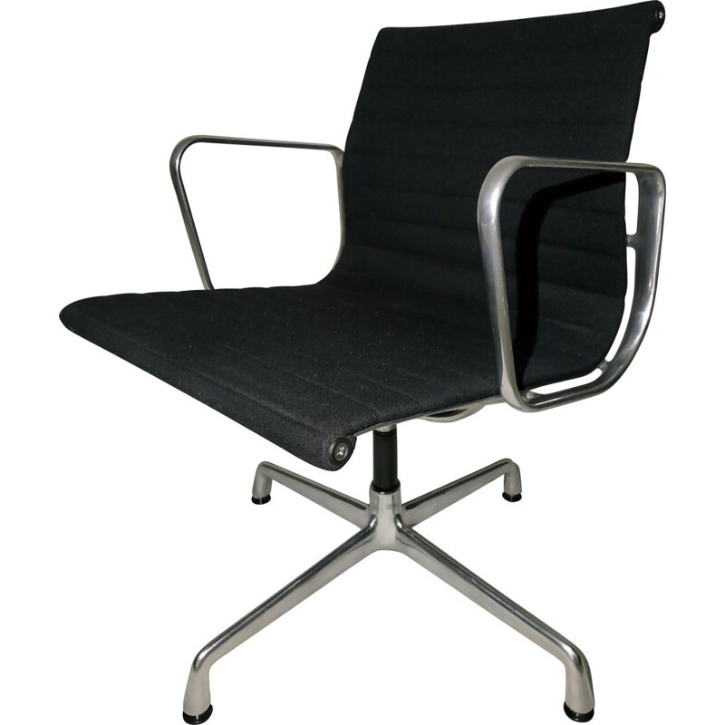 Vintage EA108 armchair for Vitra in black fabric and aluminum