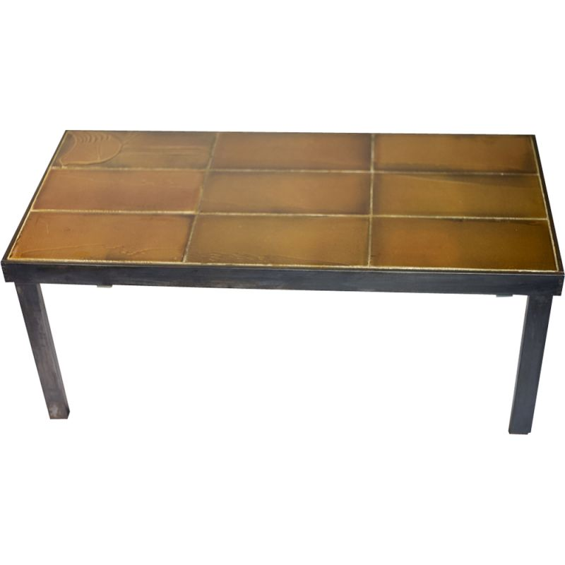 Vintage coffee table by Roger Capron in steel and ceramic