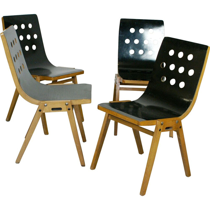 Set of 4 vintage black austrian black stacking chairs for Emil and Alfred Pollak