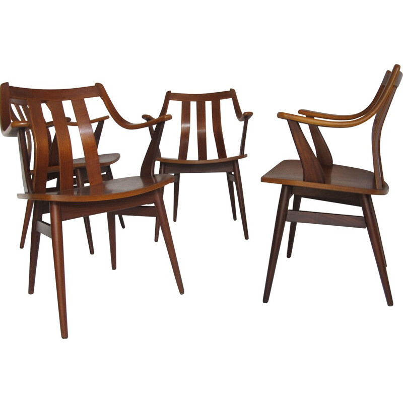 Set of 4 scandinavian dining chairs in teak - 1950s
