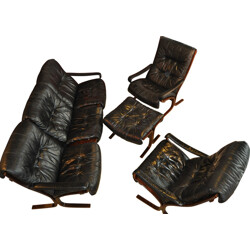 Set of living room in black leather and wood, Ingmar RELLING - 1960s
