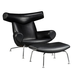 Leather and chromed steel armchair and its ottoman, Hans J. WEGNER - 1989